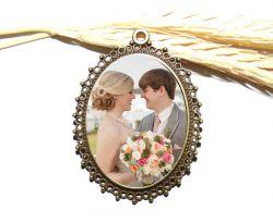 Medalha relicário para Buque de Noiva