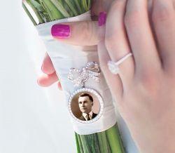 Relicário para Noiva pingente co laço de strass e foto colocada
